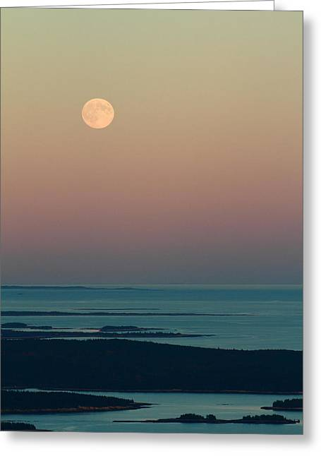 Moonrise Over Schoodic Point Greeting Card by Acadia Photography
