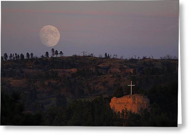 Moonrise Over The Cross Greeting Card