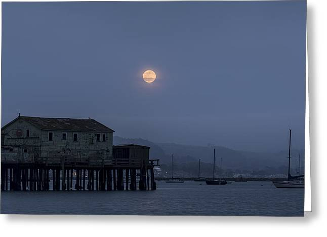 Moonrise Over The Harbor Greeting Card