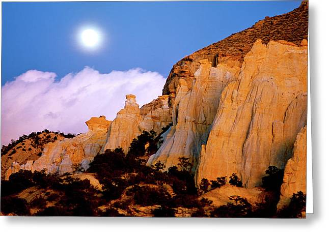 Moonrise Over The Kaiparowits Plateau Utah Greeting Card