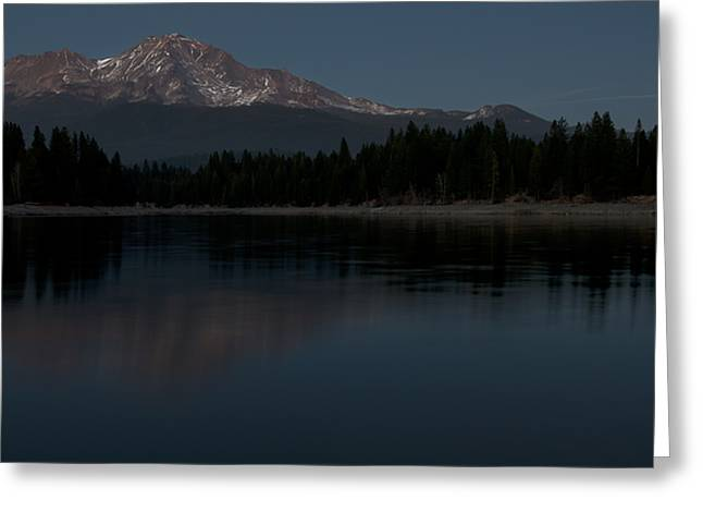 Moonrise Over The Lake At Mount Shasta Greeting Card by Loree Johnson