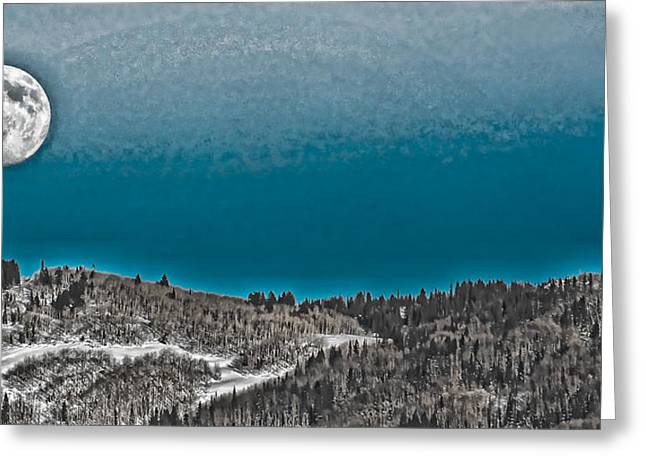 Greeting Card featuring the photograph Moonrise Over The Mountain by Don Schwartz