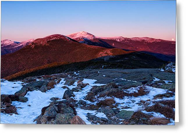 Moonrise Over The Presidential Range Greeting Card