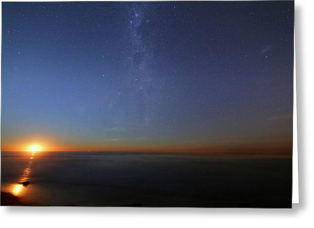 Moonrise Over The Sea Greeting Card by Luis Argerich