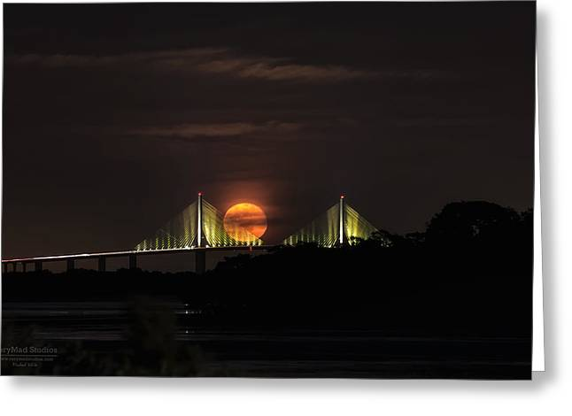 Moonrise Over The Skyway Bridge Greeting Card