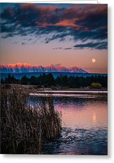 Moonrise Rocky Moutains Greeting Card