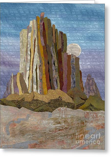Moonrise Shiprock Greeting Card by Patricia Gould