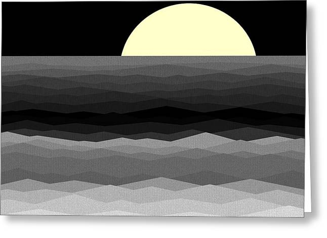 Moonrise Surf Greeting Card by Val Arie
