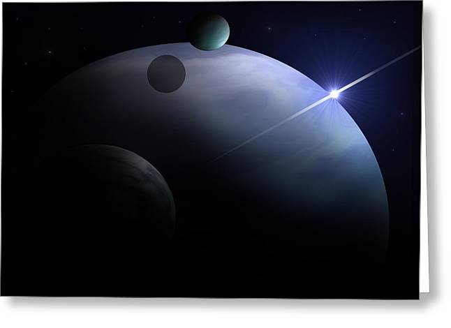 Moons Of Neptune Greeting Card by Ricky Haug