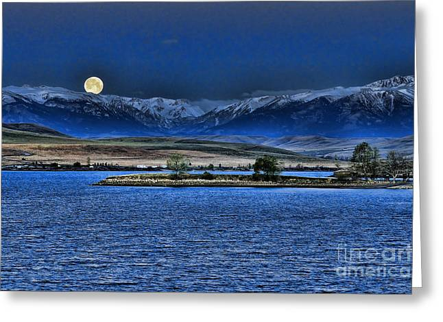Moonset Over Cooney Greeting Card