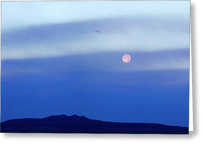 Moonset Over Mountain, Tres Orejas Greeting Card by Panoramic Images