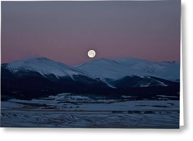 Moonset Over The Great Divide Greeting Card by Patrick Derickson