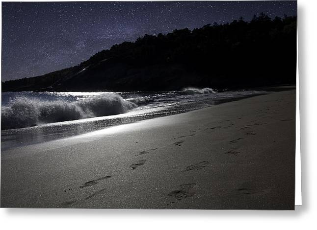Greeting Card featuring the photograph Moonshine Beach by Brent L Ander