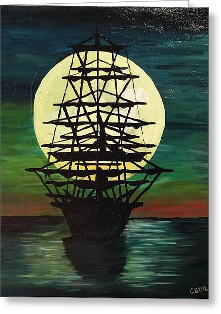 Moonstricken....lost In Thought Greeting Card by Carol Hamby