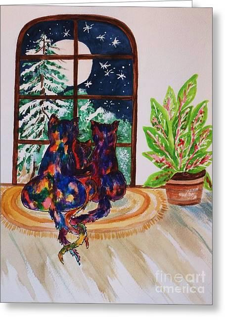 Moonstruck Cats - Winter Wonderland Greeting Card