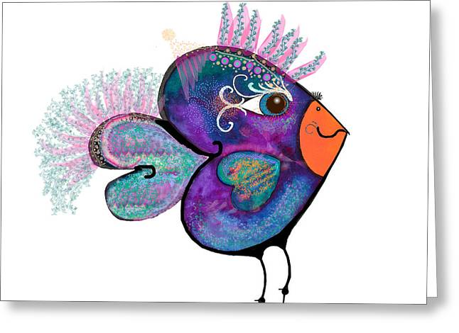 Moonworld Series - Love Bird Greeting Card by Moon Stumpp