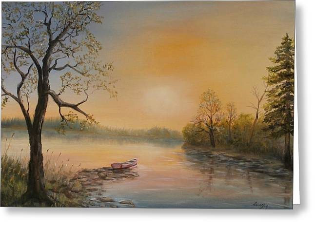 Moored At Sunset Greeting Card