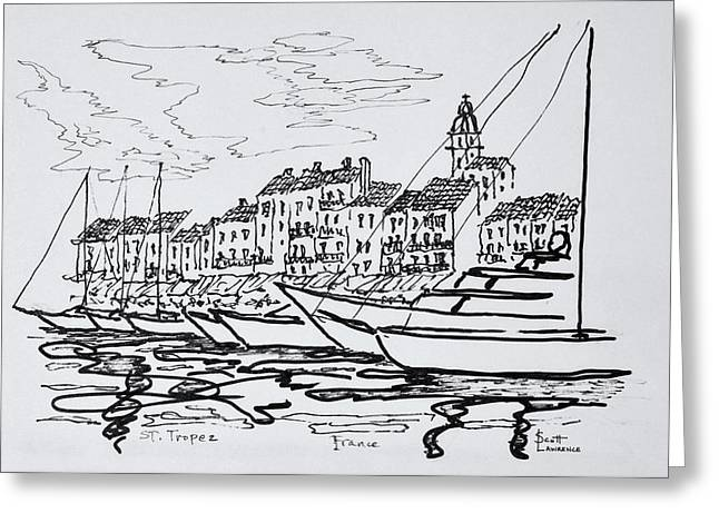 Moored Boats In The Harbor Greeting Card