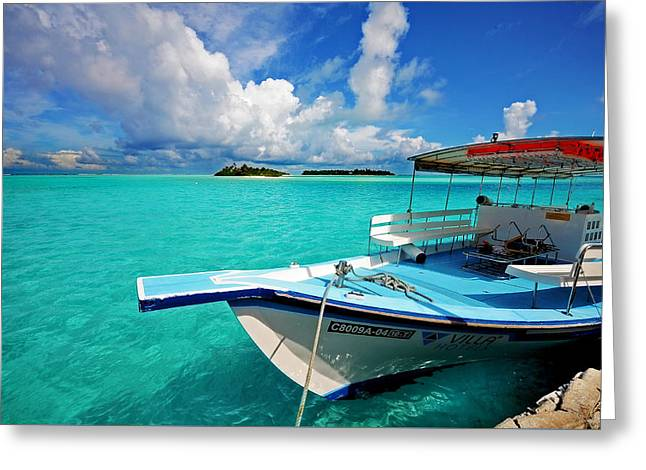 Moored Dhoni At Sun Island. Maldives Greeting Card