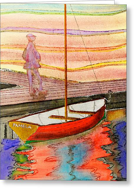 Moored Dinghy Greeting Card