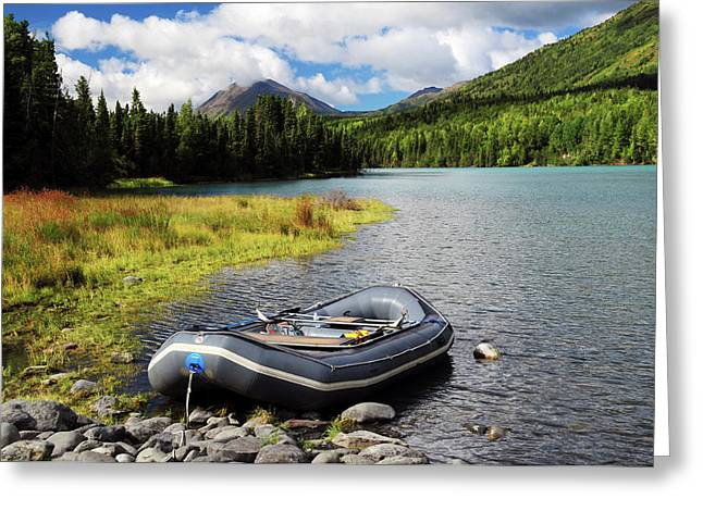 Moored Dingy On Kenai Lake, Kenai Greeting Card by Michel Hersen
