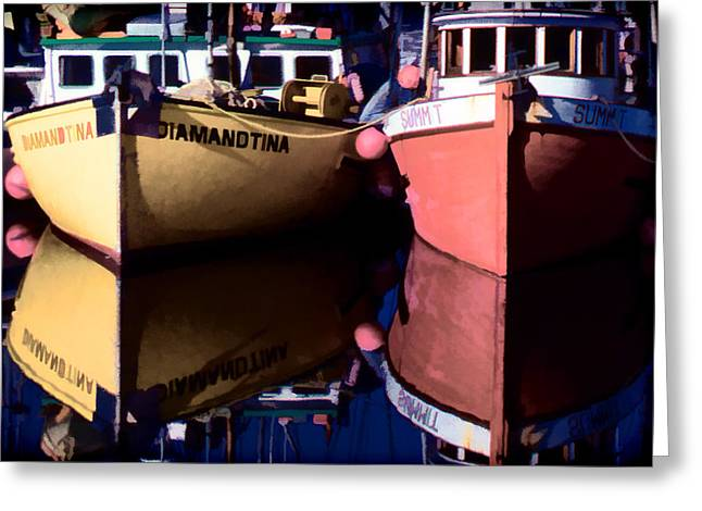 Greeting Card featuring the digital art Moored Fishing Boats by Richard Farrington