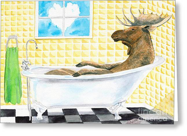 Moose Bath, Moose Painting, Moose Print, Bath Painting, Bath Print, Cottage Art Greeting Card