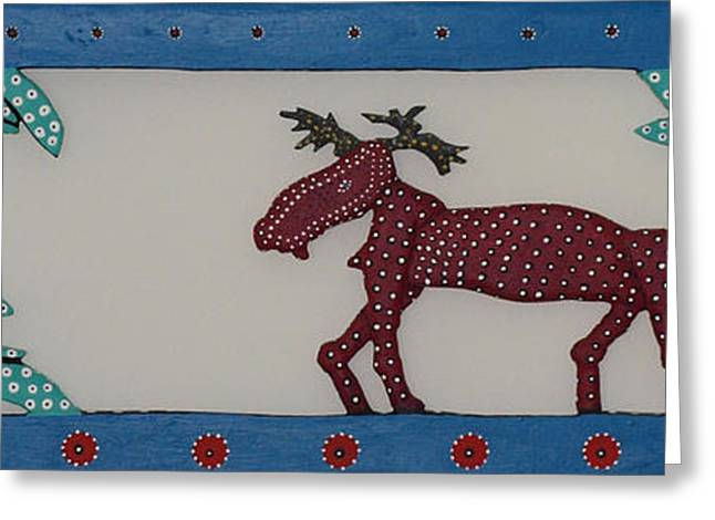 Greeting Card featuring the sculpture Moose Coming Home For Christmas by Robert Margetts