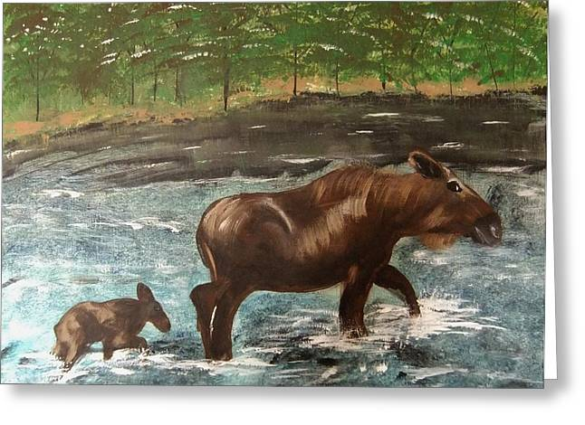 Greeting Card featuring the painting Moose Crossing by Matthew Griswold