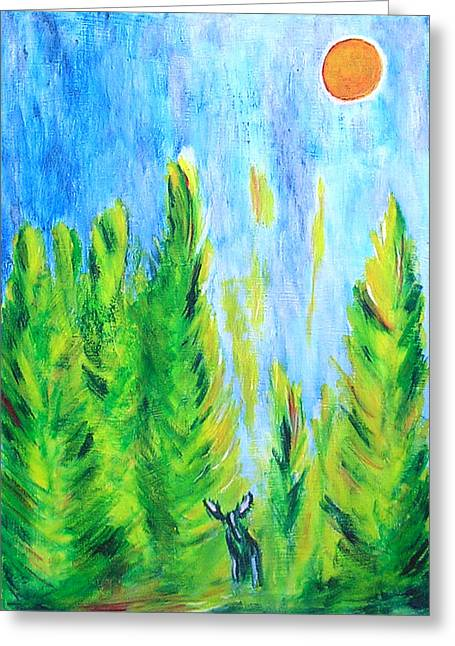 Greeting Card featuring the painting Moose In Moonlight by Zeke Nord