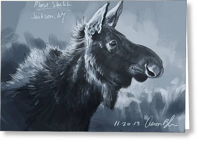 Moose Sketch Greeting Card by Aaron Blaise