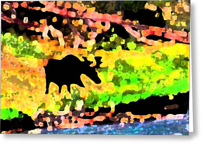 Moose Strolling Along The River Bank Greeting Card by Dane Ann Smith Johnsen