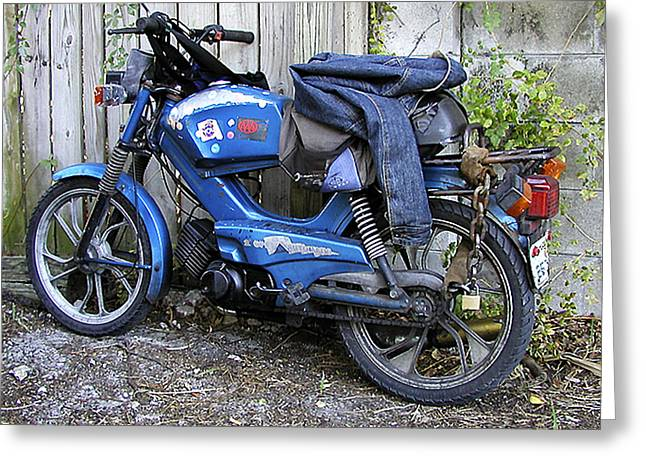 Moped Madness Greeting Card by Steve Sperry