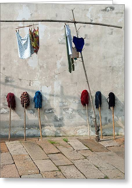 Greeting Card featuring the photograph Mops And Laundry 1  Wuzhen China by Rob Huntley