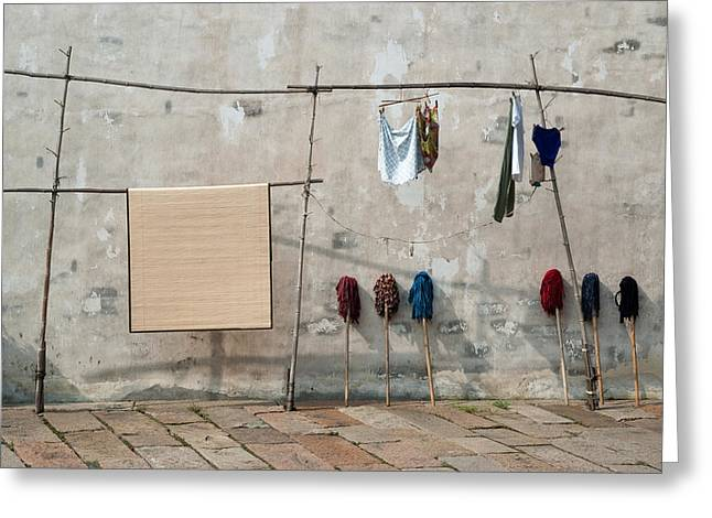 Greeting Card featuring the photograph Mops And Laundry 2  Wuzhen China by Rob Huntley