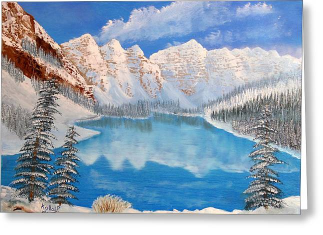 Moraine Lake By Winter Time  Greeting Card by Peter Kallai