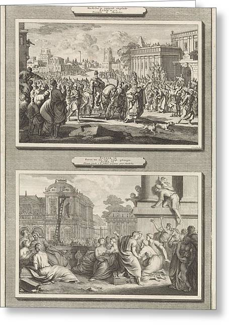 Mordecai Is Honored In Babylon And The Execution Of Haman Greeting Card by Jan Luyken And Jacob De Later And Bernard Picart