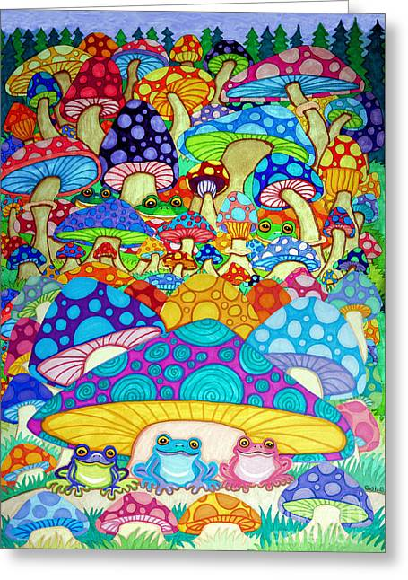 More Frogs Toads And Magic Mushrooms Greeting Card by Nick Gustafson