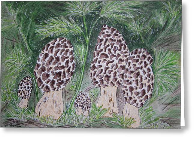 Greeting Card featuring the painting Morel Mushrooms by Kathy Marrs Chandler