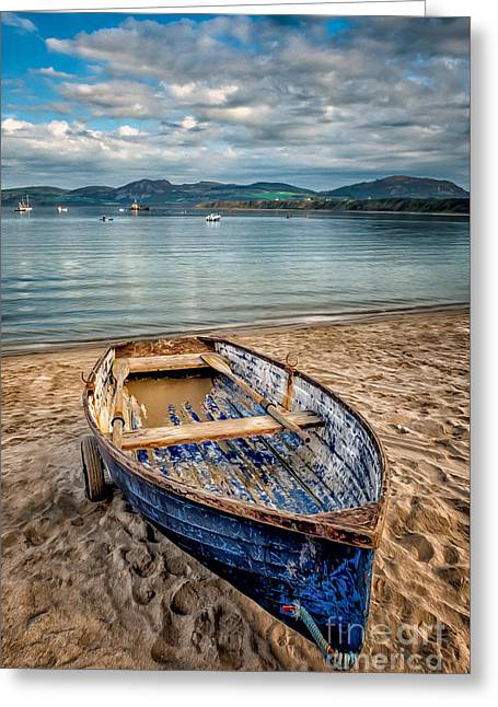 Greeting Card featuring the photograph Morfa Nefyn Boat by Adrian Evans