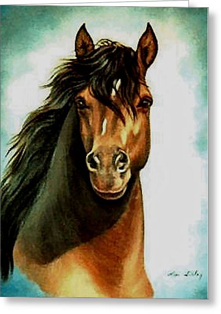 Greeting Card featuring the painting Morgan Horse by Loxi Sibley