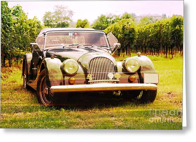 Morgan Plus 4 In Front Of Vineyard Greeting Card by Perry Van Munster