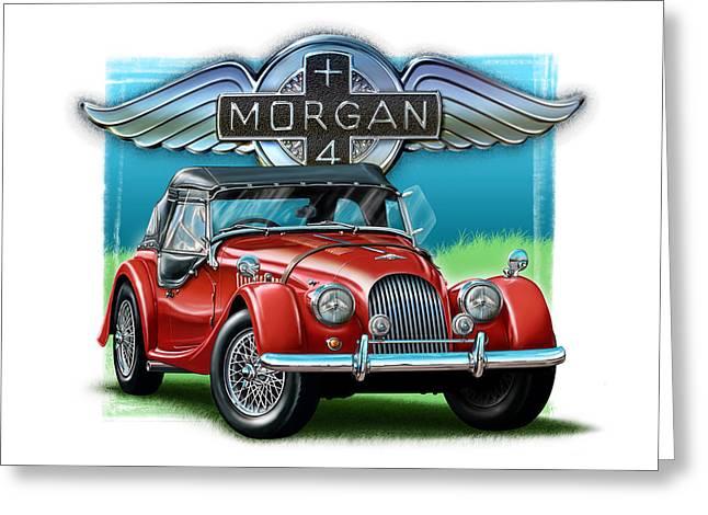 Morgan Plus 4 In Red Greeting Card