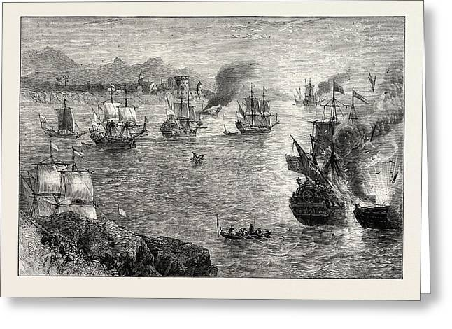 Morgans Defeat Of The Spanish Fleet Greeting Card by English School