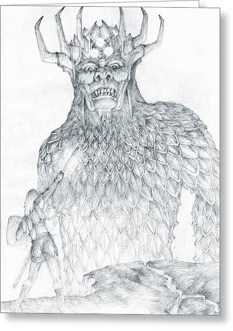Greeting Card featuring the drawing Morgoth And Fingolfin by Curtiss Shaffer