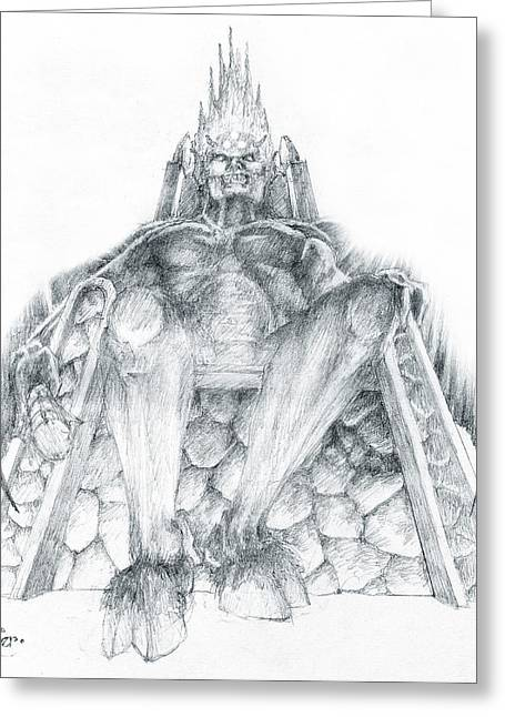 Greeting Card featuring the drawing Morgoth Bauglir by Curtiss Shaffer