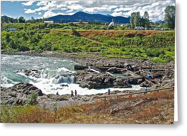 Moricetown Falls And Canyon Fishing Operation On The Bulkley River In Moricetwown-british Columbia  Greeting Card by Ruth Hager