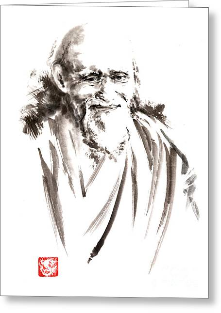 Morihei Ueshiba Sensei Aikido Martial Arts Japan Japanese Master Sum-e Portrait Founder Greeting Card by Mariusz Szmerdt