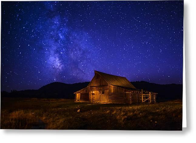 Mormon Barn And Milky Way Greeting Card