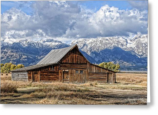 Mormon Barn With Horses Greeting Card